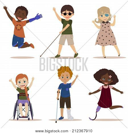 Special needs children. Happy and active children with disabilities. Blind boy, girl in a wheelchair, kids with leg and arm prosthesis, one eyed girl. Differing abilities. Vector on white background