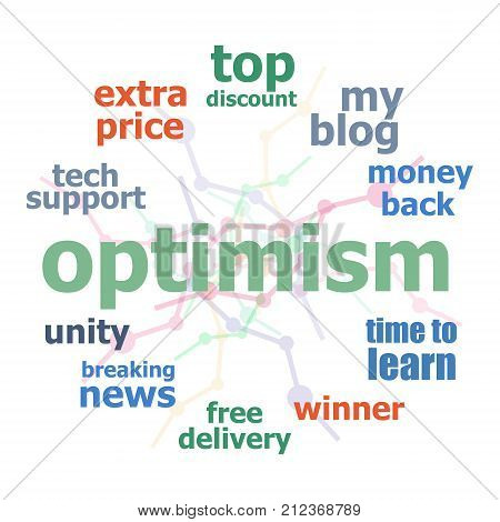 Text Optimism. Social concept, Word business collage
