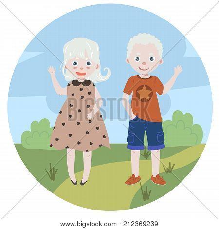 Albino kids. Albinism. Children with albino disease. vector illustration