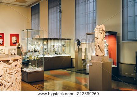Moscow, Russia - November 02, 2017 - Interior of the hall of ancient art in Pushkin state museum of fine arts. Treasure of ancient Greece, Cyprus, Etruria, Rome. Famous historical place, heritage.