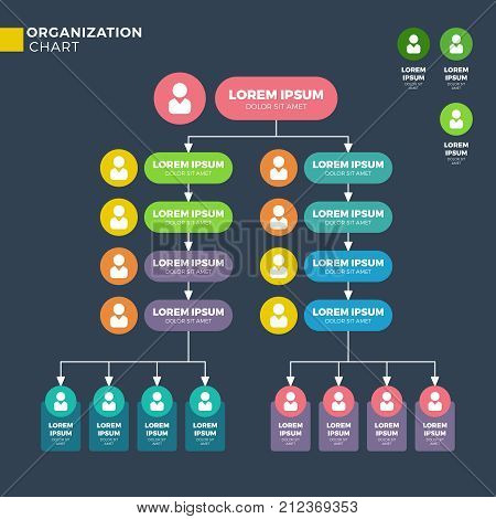 Business organizational structure. Vector hierarchy chart. Hierarchy structure and corporate chart organizational connection teamwork illustration