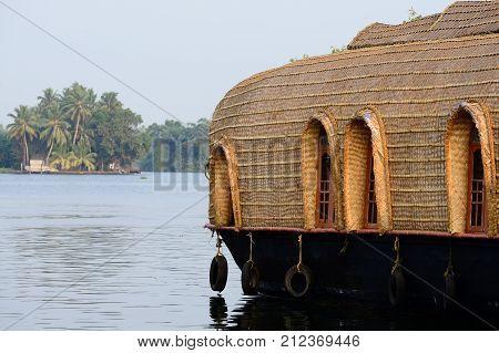 India Beautifoull house boat at back waters of Kerala