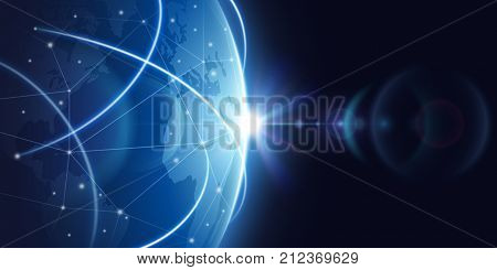 Futuristic global internet network background. Worldwide globalization vector concept. Futuristic connect world digital, globe network communication illustration