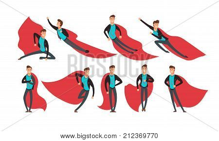 Cartoon businessman superhero in actions and different poses vector set. Superhero in red cape, strength and power man illustration