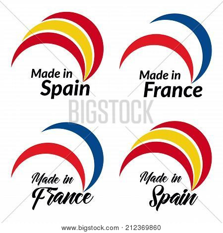 Simple logos Made in Spain Made in France vector logo with Spain France flags.
