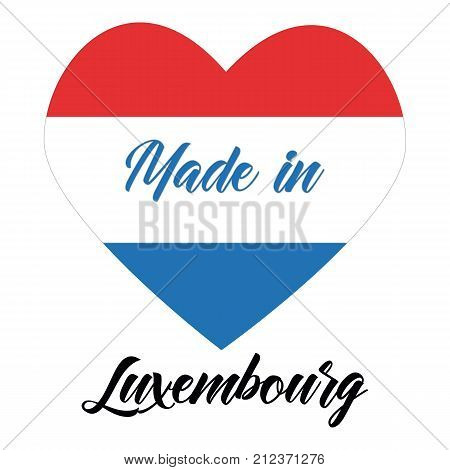 Simple logos Made in Luxembourg vector logo with Luxembourg flags.