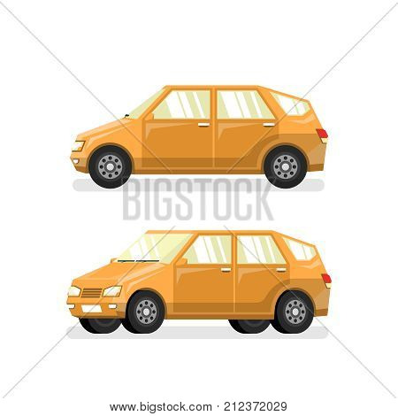 Yellow car hatchback in flat style. Vector detailed pseudo 3d illustration.