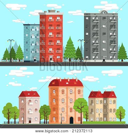 Cityscapes on a fine day. Houses trees fences road street lights. Vektor detailed illustration - two options.