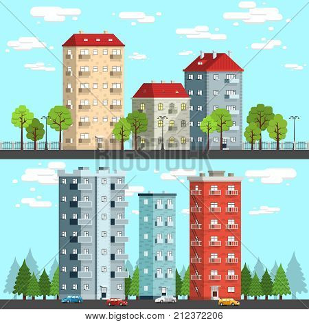 Group of multi-storey houses surrounded by trees street lamps cars. City landscape vector illustration.