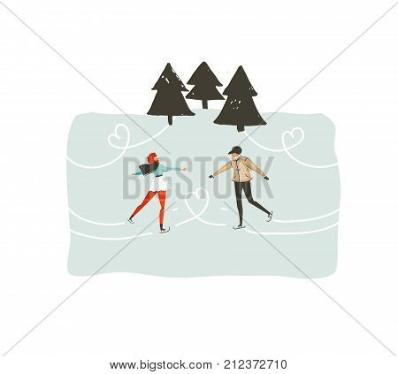 Hand drawn vector abstract fun Merry Christmas time cartoon illustration with young couple who skating in frozen forest isolated on white background.