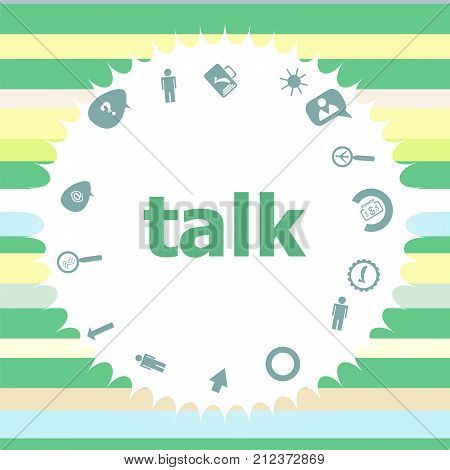 Text Talk. Education Concept . Infographics Icon Set. Icons Of Maths, Graphs, Mail And So On.