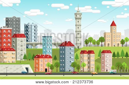 European city landscape with colored houses town hall tower tunnel bridge trees Street light cars. Vector illustration.