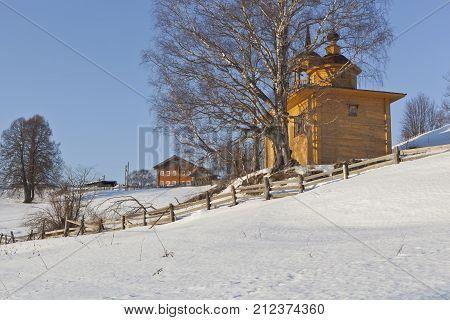 Winter in the village Markovskaya Verkhovazhsky District Vologda Region, Russia