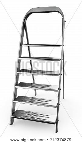 Ladder modern 3d render. Ladder Sample with metal railing side view isolated