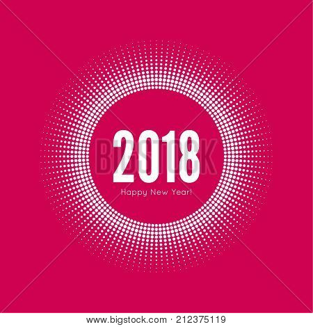 Round banner with rays. happy new year 2018. Decoration collection. frames, vintage labels. for greeting card, flyer, invitation, poster, brochure banner calendar Christmas Meeting events.