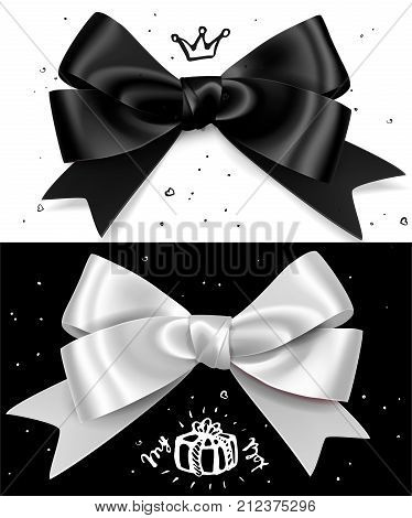 Black and white gift bows with ribbon, satin glamour isolated bow for birthday and christmas giftbox. Present selebration design element. Stylish minimalistic bow.