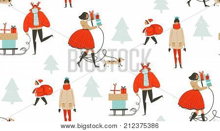 Hand drawn vector abstract fun Merry Christmas time cartoon illustration seamless pattern with people walking in winter clothing and surprise gift boxes isolated on white background.