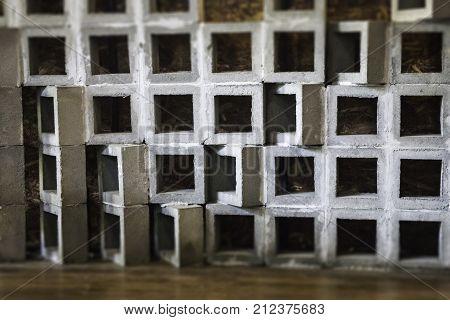 Concrete shelves on wooden floor stock photo