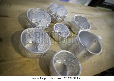Thai vintage pattern silver cups stock photo
