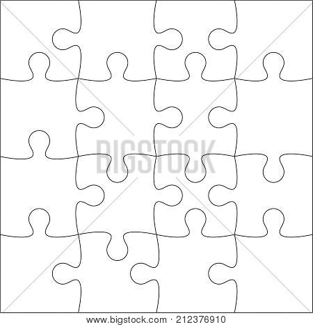 Jigsaw puzzle blank template or cutting guidelines of 20 pieces. Plain white jigsaw puzzle, on white background. Vector  illustration.