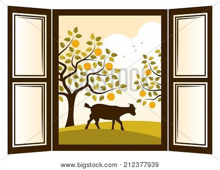 vector goat in apple orchard outside the window