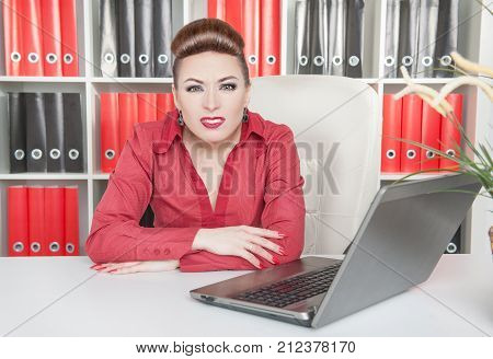Annoyed Business Woman Working With Computer