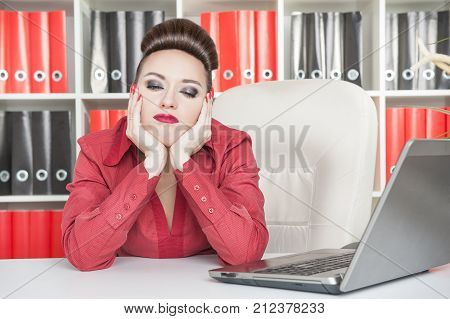 Boring Business Woman Working At Office