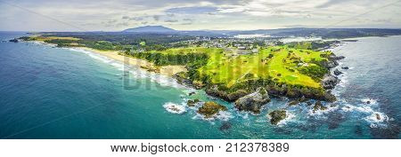 Aerial panoramic view of ocean coastline near Narooma NSW Australia