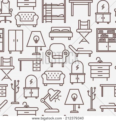 Furniture seamless pattern with thin line icons of coach, bookcase, bed,  dresser, chair, lamp, floor hanger. Modern vector illustration for banner, web page, print media.