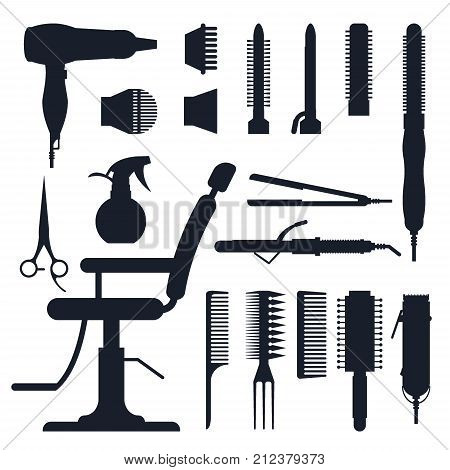 Black silhouette set of hairdresser objects isolated on white background. Hair salon equipment and tools logo icons, hairdryer, comb, scissors, hairclipper, curling, hair straightener for barbershop. poster