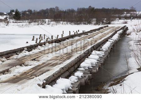 Road bridge across the river Vaga near the village Klopovskaya, Velsky district, Arkhangelsk region in Russia