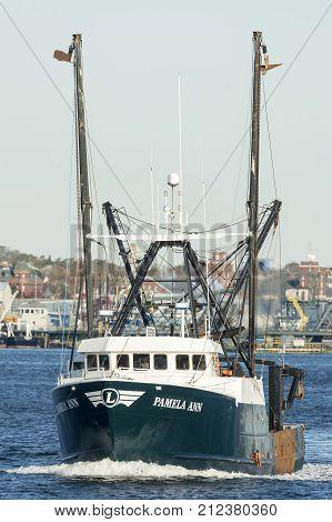 New Bedford Massachusetts USA - November 5 2017: Commercial fishing vessel Pamela Ann in New Bedford harbor
