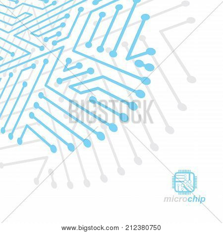 Vector abstract technology illustration with circuit board. High tech digital scheme of electronic device. Technology microchip abstract background poster