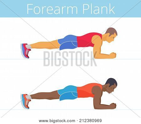 The sporty black and white young men are doing the forearm plank exercise. Flat illustration of caucasian and afroamerican sporty boys are training in the plank posture. Vector active people set.