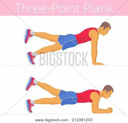 The sporty strong white young man is doing the three-point plank exercise. Flat illustration of caucasian powerful adult boy is training in the plank postures. Vector active isolated people set.