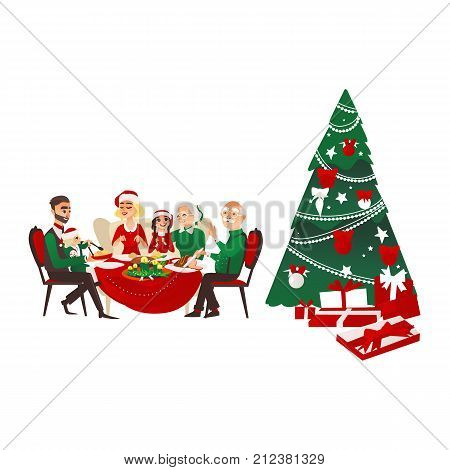 Happy big family celebrating Christmas, sitting at the table, Xmas fir tree with many present boxes, cartoon vector illustration isolated on white background. Family dinner, Christmas tree, presents