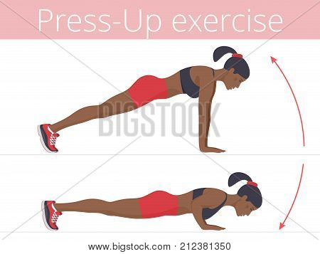 Beautiful young woman in sportswear is doing the push up exercise. Flat illustration of afroamerican sporty girl training in push-up. Vector active people set for sport, fitness design, infographic.