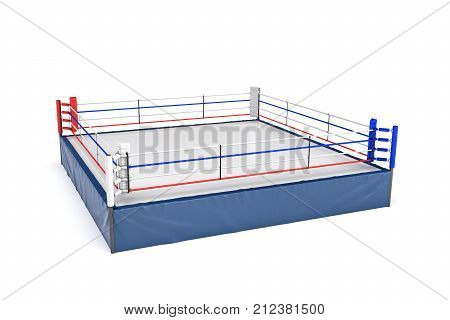3d rendering of an empty boxing ring in side view to its corner isolated on white background. Professional boxing. Sports and recreation. Fighting competition.