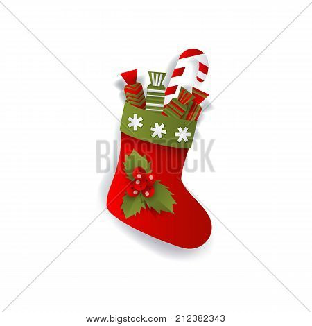 Christmas stocking, boot decoration element for Xmas greeting cards, flat vector illustration isolated on white background, 3d paper cutout. Flat style Christmas stocking, boot decoration element