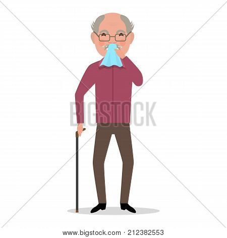 Vector illustration cartoon old man caught a cold, sneezing, ill. Isolated white background.