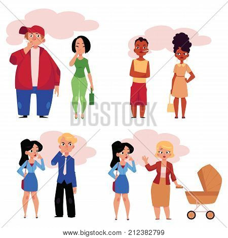Set of people, men and women, smoking and suffering from secondhand smoke, cartoon vector illustration isolated on white background. Male and female smokers and victims of passive, secondhand smoking