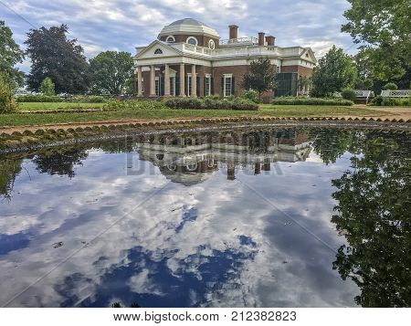 reflecting pool at Thomas Jefferson home; Monticello, Virginia