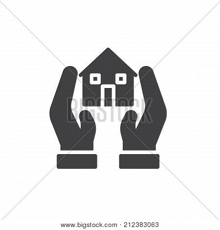 Hands and house icon vector, filled flat sign, solid pictogram isolated on white. Realty insurance, safe secure home symbol, logo illustration