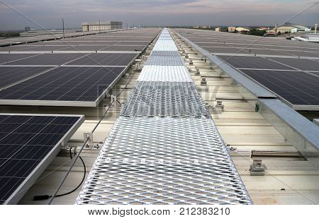 Grating Walkway of a Solar PV Rooftop System