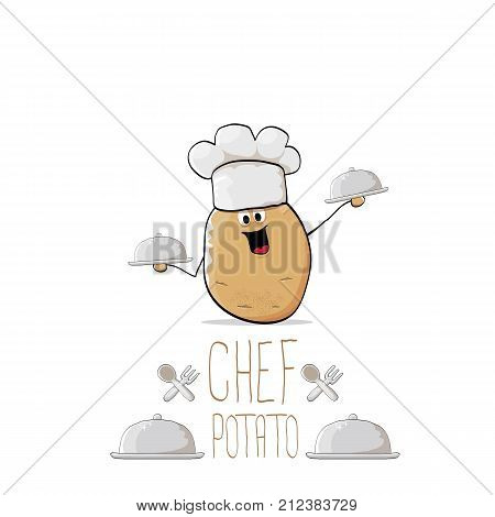 vector funny cartoon cute brown chef potato with mustache and beard isolated on white background. My name is potato vector concept. vegetable funky character with chef hat