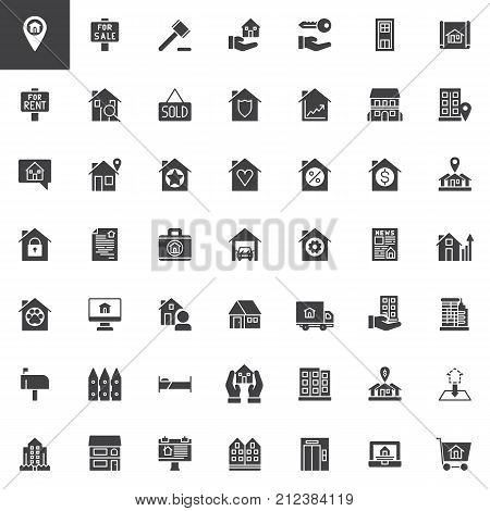 Real estate vector icons set, modern solid symbol collection, filled pictogram pack. Signs, logo illustration. Set includes icons as House sale, rent, office, auction, blueprint, residential