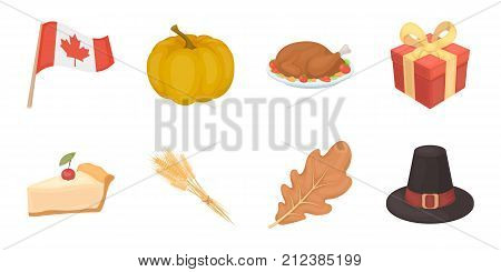 Canada Thanksgiving Day icons in set collection for design. Canada and Tradition vector symbol stock  illustration.