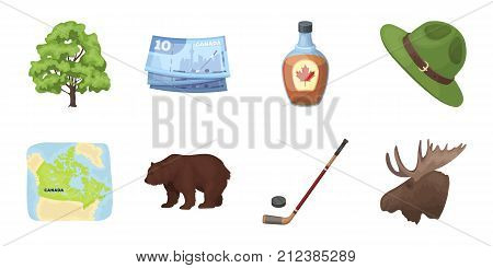 Country Canada icons in set collection for design. Canada and landmark vector symbol stock  illustration.