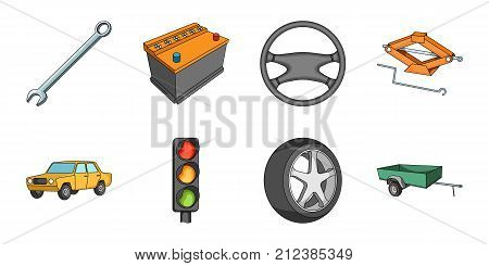 Car, vehicle icons in set collection for design. Car and equipment vector symbol stock  illustration.