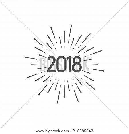 Happy New 2018 Year. Holiday Vector Illustration With Typographic Composition. Happy New Year 2018 Label With Star Burst. NYE Logo Design